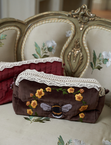 FUFA Бархатная косметичка с ручной вышивкой и кружевом
