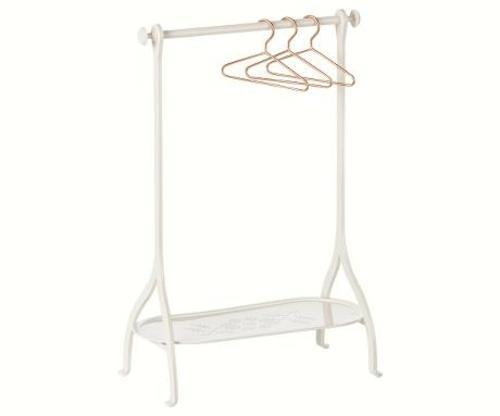 Maileg Вешалка для одежды с 3 плечиками, белая