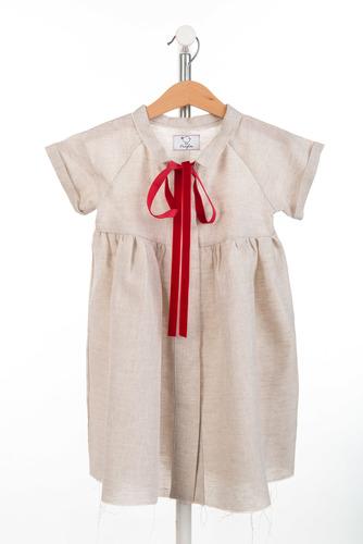 FUFA Платье бежевое с красной лентой Anna