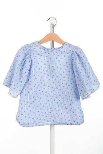 FUFA Блузка голубая с цветочным принятом Fly