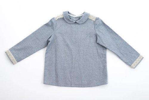 FUFA Рубашка темно-голубая с кружевом