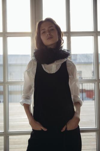 FUFA Бархатный черный комбинезон с кружевом