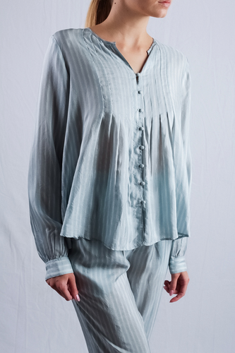 Mesdemoiselles  Paris  Голубая Рубашка шелковая в полоску