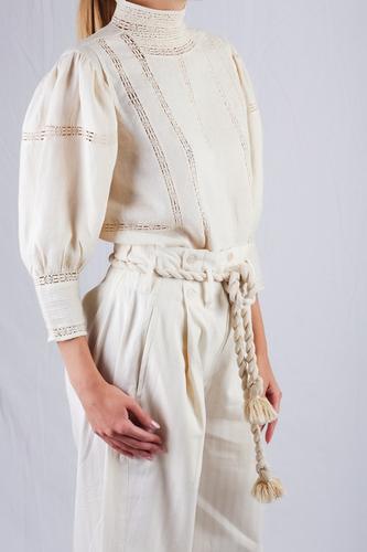 Mesdemoiselles  Paris Льняная блуза с кружевом
