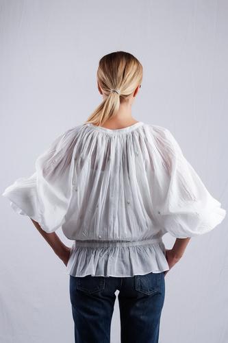 Mesdemoiselles  Paris Блуза объёмная на резинке с вышивкой