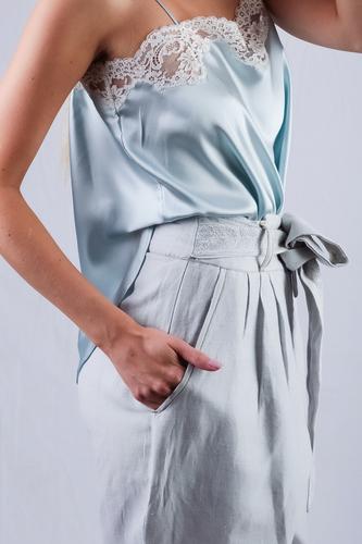 Mesdemoiselles  Paris Голубые льняные брюки
