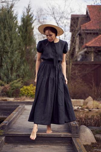 FUFA Платье черное на завязках