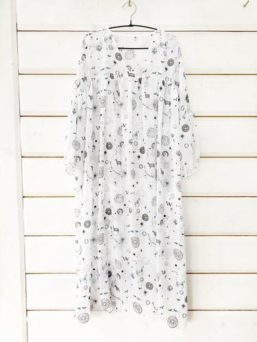 FUFA Платье белое, авторский принт Yana Bulantseva