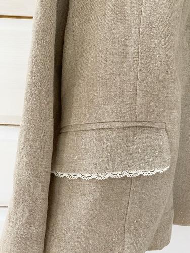 FUFA Льняной пиджак с кружевной отделкой