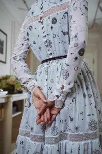 FUFA Платье с авторским принтом и кружевом