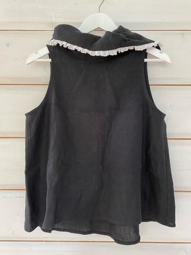 FUFA Блузка без рукавов черная с кружевом
